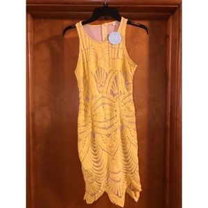 Tea N Cup yellow body con dress